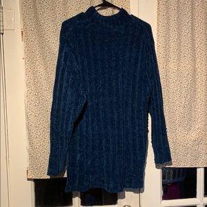 Fuzzy chenille sweater mock turtleneck teal blue